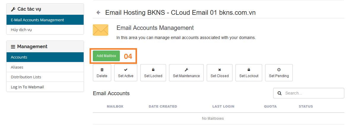 Email cloud BKNS