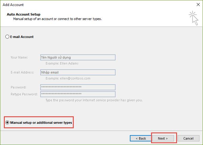 Click vào Add Account để thêm tài khoản Email mới vào Outlook