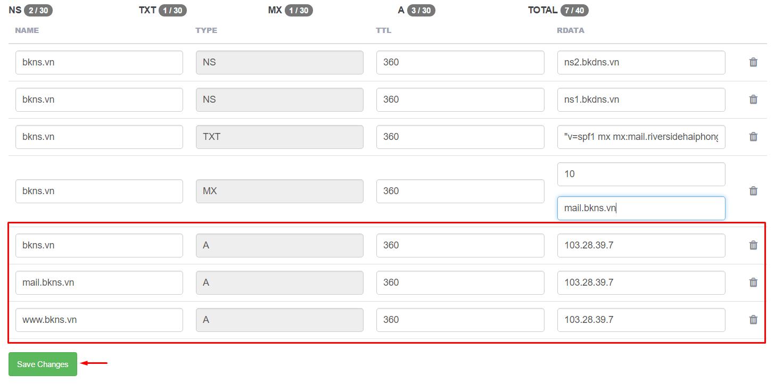 Click để chỉnh sửa DNS