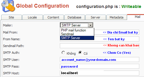 Hướng dẫn cấu hình SMTP với Joomla - Câu hỏi thường gặp