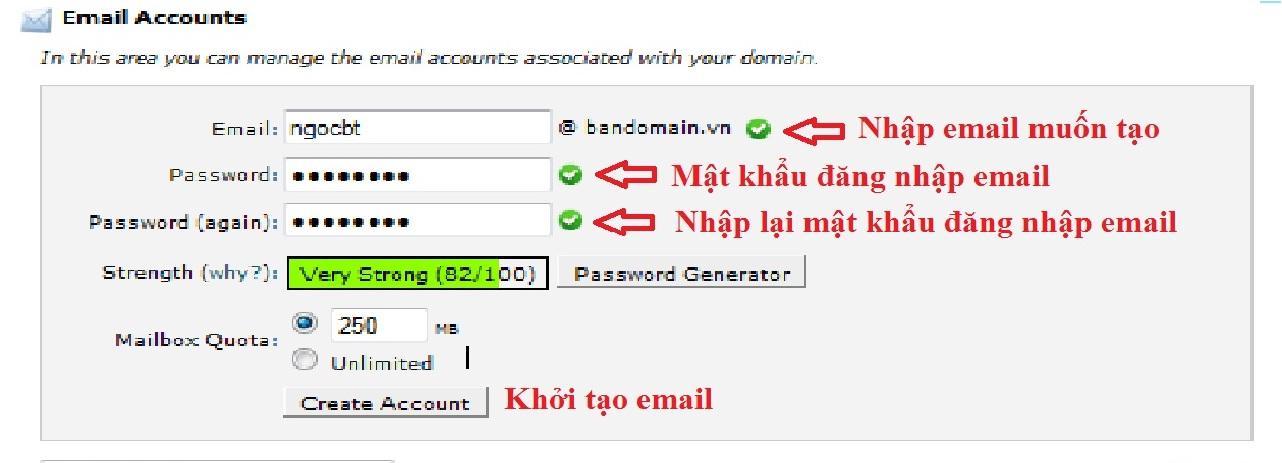 Điền đầy đủ thông tin ở Email Account