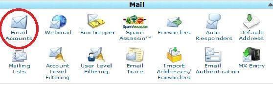 Vào phần Email Accounts để tạo email theo tên miền