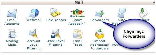 Đăng nhập quản trị hosting, sau đó vào forwarders trong mục Mail