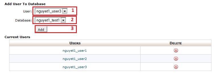 Điền đầy đủ thông tin để mở quyền cho tài khoản sử dụng MySQL