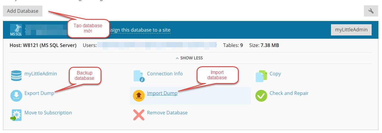 Bạn có thể tạo database mới hoặc backup, import database.