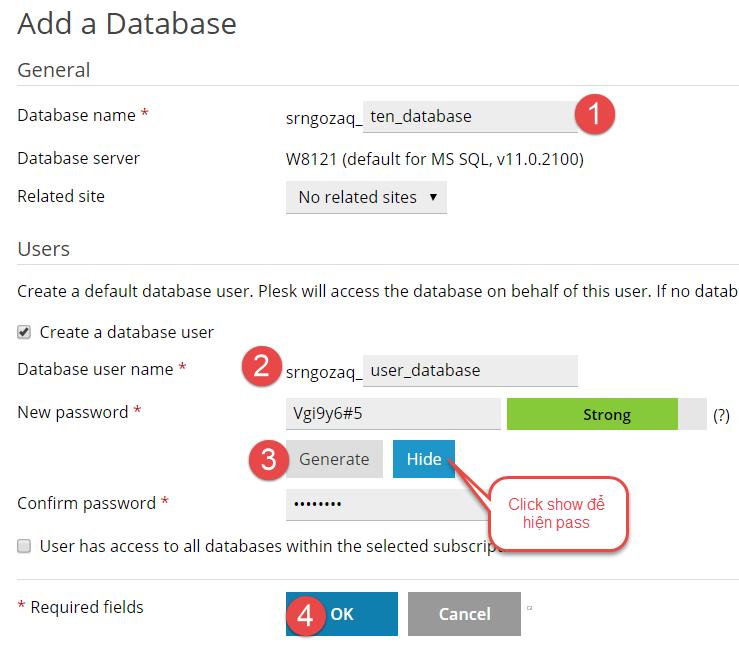 Cách tạo database trên plesk 12