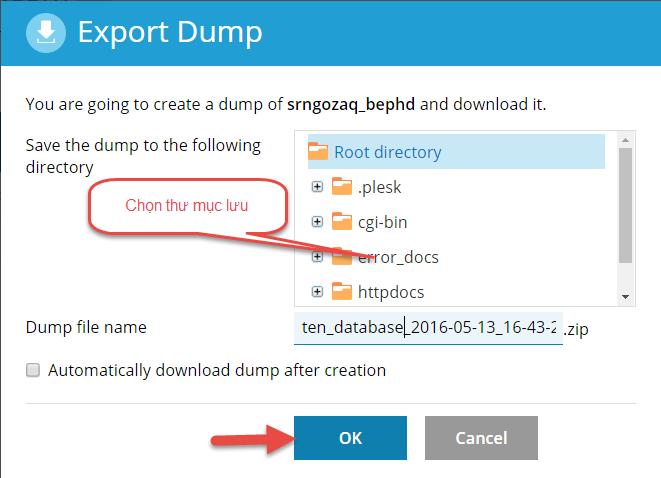 Cách backup database trên Plesk 12